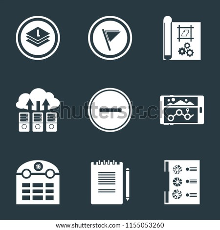 Set Of 9 simple icons such as Menu, Notepad, Calendar, Navigation, Substract, Cloud computing, print, Flag, Layers, can be used for mobile, pixel perfect vector icon pack on black background