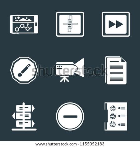 Set Of 9 simple icons such as Menu, Substract, Document, Video camera, Compose, Fast forward, Broken link, Navigation, can be used for mobile, pixel perfect vector icon pack on black background