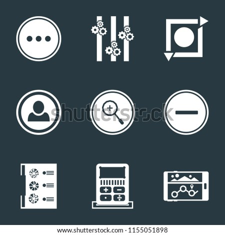 Set Of 9 simple icons such as Navigation, Calculator, Menu, Substract, Zoom in, User, Repeat, Controls, More, can be used for mobile, pixel perfect vector icon pack on black background