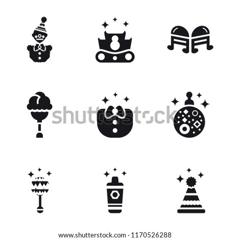 Set Of 9 simple icons such as Party hat, Shaker, Rattle, Mirror ball, Clothes, Ice cream, Quaver, Crown, Clown, can be used for mobile, pixel perfect vector icon pack on white background