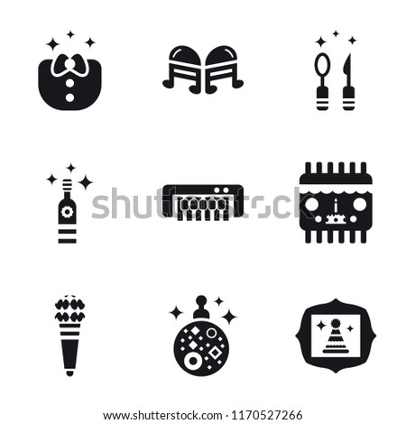 Set Of 9 simple icons such as Picture, Mirror ball, Karaoke, Birthday card, Piano, Bottle, Cutlery, Quaver, Clothes, can be used for mobile, pixel perfect vector icon pack on white background