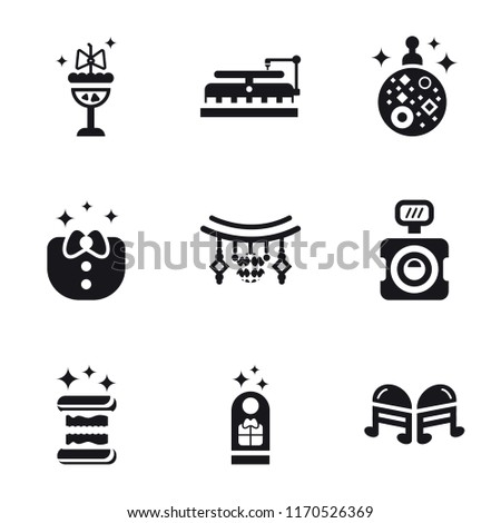 Set Of 9 simple icons such as Quaver, Gift tag, Sandwich, Photo camera, Garlands, Clothes, Mirror ball, Turntable, Cocktail, can be used for mobile, pixel perfect vector icon pack on white background