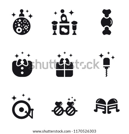 Set Of 9 simple icons such as Quaver, Sunglasses, Vinyl, Corkscrew, Gift, Clothes, Candy, Champagne, Mirror ball, can be used for mobile, pixel perfect vector icon pack on white background