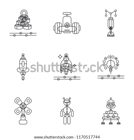 Set Of 9 simple icons such as Robot, Exoskeleton, Windmill, Artificial intelligence, Spaceship, Rocket, Digital currency, can be used for mobile, pixel perfect vector icon pack on white