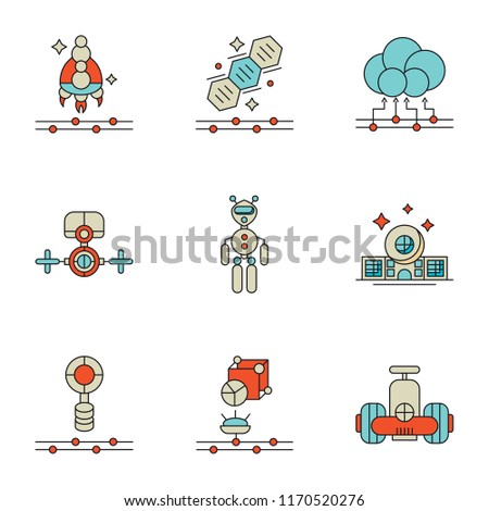 Set Of 9 simple icons such as Robot, Hologram, Eco house, Exoskeleton, Drone, Cloud computing, Genetics, Spaceship, can be used for mobile, pixel perfect vector icon pack on white background