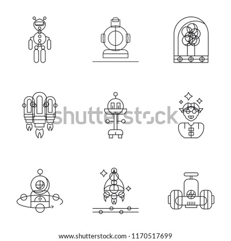 Set Of 9 simple icons such as Robot, Spaceship, Augmented reality, Jet pack, Tree, Wireless gadget, Exoskeleton, can be used for mobile, pixel perfect vector icon pack on