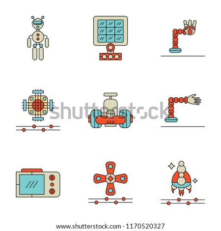 Set Of 9 simple icons such as Spaceship, Wind turbine, Display, Prosthesis, Robot, Chip, Robotic arm, Solar panel, Exoskeleton, can be used for mobile, pixel perfect vector icon pack on white