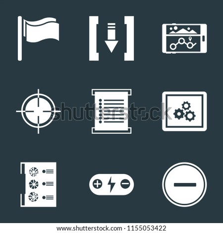 Set Of 9 simple icons such as Substract, Battery, Menu, App, Target, Navigation, Download, Flag, can be used for mobile, pixel perfect vector icon pack on black background