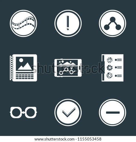Set Of 9 simple icons such as Substract, Checked, Eyeglasses, Menu, Navigation, Calendar, Share, Warning, Film, can be used for mobile, pixel perfect vector icon pack on black background