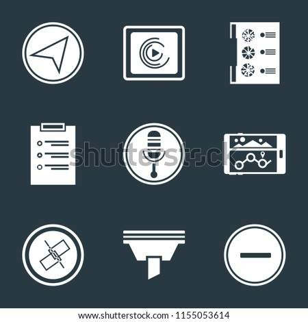 Set Of 9 simple icons such as Substract, Funnel, Unlink, Navigation, Microphone, List, Menu, Music player, Paper plane, can be used for mobile, pixel perfect vector icon pack on black background