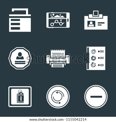 Set Of 9 simple icons such as Substract, Repeat, Price tag, Menu, Fax, Login, Id card, Navigation, Unlocked, can be used for mobile, pixel perfect vector icon pack on black background