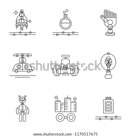 Set Of 9 simple icons such as Wireless charging, Augmented reality, Exoskeleton, Renewable energy, Robot, High speed tube, Bionic, Substance, Spaceship, can be used for mobile, pixel perfect vector