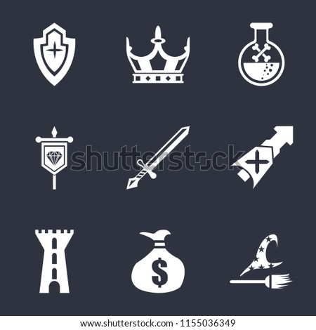 set of 9 simple icons such as