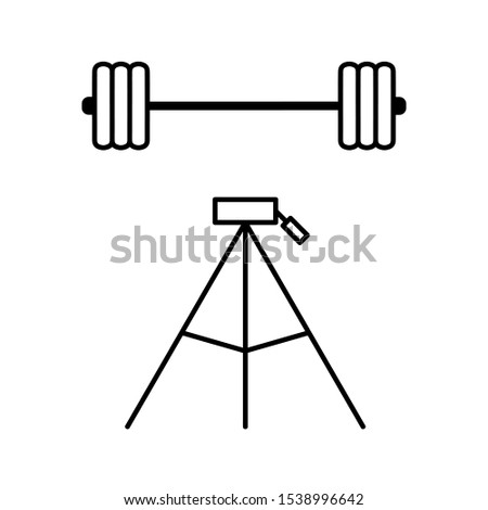 Set of simple icons with barbells and tripod
