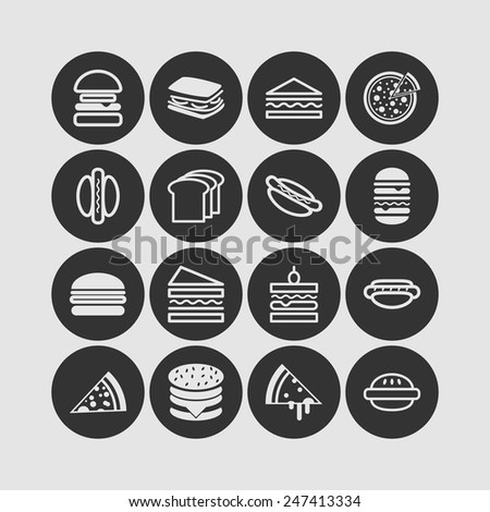 Set of simple icons with hamburgers, sandwiches and pizza  for web design, sites, menu, restaurants, applications and stickers