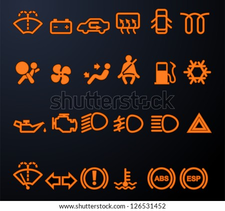set of simple illuminated car