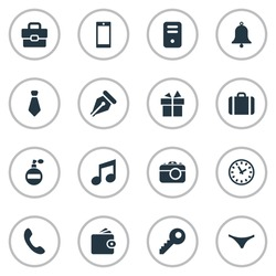 Set Of 16 Simple Instrument Icons. Can Be Found Such Elements As Ink Pencil, Mobile Phone, Music And Other.