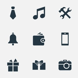 Set Of 9 Simple Instrument Icons. Can Be Found Such Elements As Present, Gift, Billfold And Other.