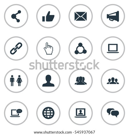 Set Of 16 Simple Internet Icons. Can Be Found Such Elements As New Mail, Notebook, Web And Other.