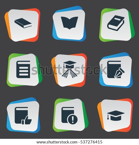 set of 9 simple knowledge icons