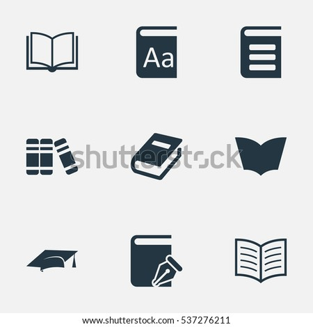 Set Of 9 Simple Knowledge Icons. Can Be Found Such Elements As Encyclopedia, Sketchbook, Alphabet And Other.