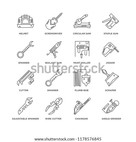Set Of 16 simple line icons such as Angle grinder, Chainsaw, Wire cutter, Adjustable spanner, Scraper, Helmet, Spanner, Cutter, Paint roller, editable stroke icon pack, pixel perfect