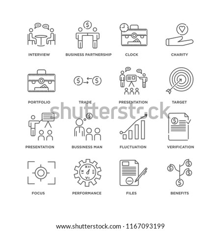 Set Of 16 simple line icons such as Benefits, Files, Performance, Focus, Verification, Interview, Portfolio, Presentation, editable stroke icon pack, pixel perfect #1167093199