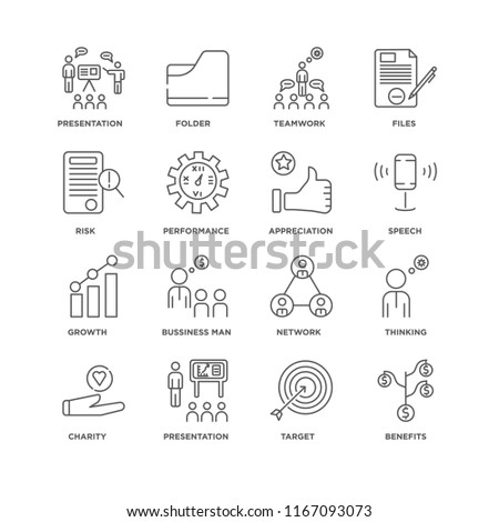 Set Of 16 simple line icons such as Benefits, Target, Presentation, Charity, Thinking, Risk, Growth, Appreciation, editable stroke icon pack, pixel perfect #1167093073