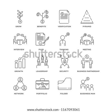 Set Of 16 simple line icons such as Bussiness man, Folder, Portfolio, Network, Business partnership, Grow, Interview, Growth, Thinking, editable stroke icon pack, pixel perfect #1167093061