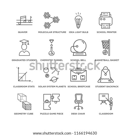 Set Of 16 simple line icons such as Classroom, Desk Chair, Quaver, Geometry Cube, Student Backpack, School Briefcase, Idea Light Bulb, editable stroke icon pack, pixel perfect