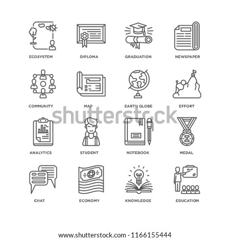 Set Of 16 simple line icons such as Education, Knowledge, Economy, Chat, Medal, Ecosystem, Community, Analytics, Earth globe, editable stroke icon pack, pixel perfect