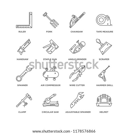 Set Of 16 simple line icons such as Helmet, Adjustable spanner, Circular saw, Clamp, Hammer drill, Ruler, Handsaw, Spanner, Angle grinder, editable stroke icon pack, pixel perfect