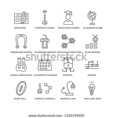Set Of 16 simple line icons such as Idea Light Bulb, Reading Lamp, Open book, Rugby Ball, Quaver, Ammeter, Classroom Calendar, Chemistry Funnel, editable stroke icon pack, pixel perfect