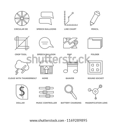 Set Of 16 simple line icons such as Magnification lens, Battery charging status, Circular de, Dollar, Round socket, Quaver, Home, Speech Balloons, editable stroke icon pack, pixel perfect