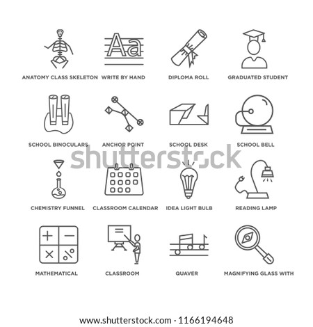 Set Of 16 simple line icons such as Magnifying Glass with Worms, Quaver, Anatomy Class Skeleton, Mathematical, Reading Lamp, Idea Light Bulb, Diploma Roll, editable stroke icon pack, pixel perfect