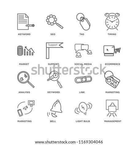 Set Of 16 simple line icons such as Management, Light bulb, Bell, Marketing, Keyword, Market, Analysis, Social media, editable stroke icon pack, pixel perfect #1169304046