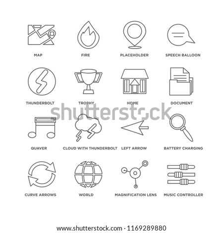Set Of 16 simple line icons such as Music controller, Magnification lens, World, Curve arrows, Battery charging status, Map, Thunderbolt, Quaver, Home, editable stroke icon pack, pixel perfect