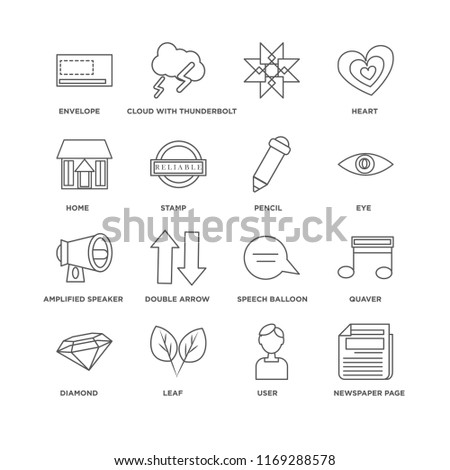 Set Of 16 simple line icons such as Newspaper page, User, Leaf, Diamond, Quaver, Envelope, Home, Amplified speaker, Pencil, editable stroke icon pack, pixel perfect