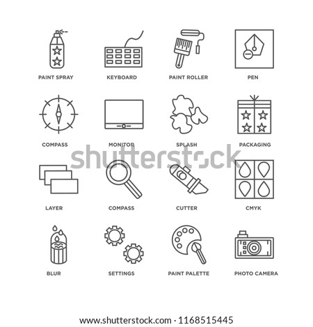Set Of 16 simple line icons such as Photo camera, Paint palette, Settings, Blur, Cmyk, spray, Compass, Layer, Splash, editable stroke icon pack, pixel perfect #1168515445