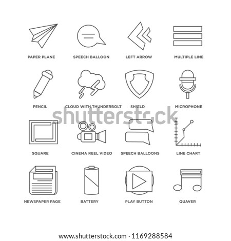 Set Of 16 simple line icons such as Quaver, Play button, Battery, Newspaper page, Line Chart, Paper plane, Pencil, Square, Shield, editable stroke icon pack, pixel perfect