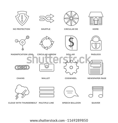 Set Of 16 simple line icons such as Quaver, Speech balloon, No protection, Cloud with thunderbolt, Newspaper page, Cogwheel, Wallet, Shuffle, editable stroke icon pack, pixel perfect