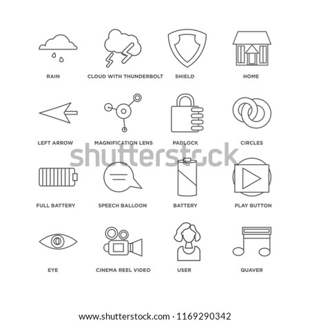Set Of 16 simple line icons such as Quaver, User, Cinema reel video camera, Eye, Play button, Rain, Left Arrow, Full battery, Padlock, editable stroke icon pack, pixel perfect