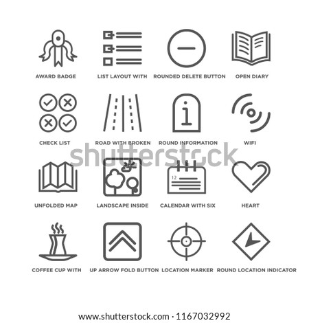 set of 16 simple line icons