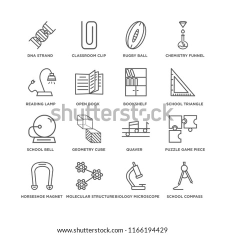 Set Of 16 simple line icons such as School Compass, Biology Microscope, DNA Strand, Horseshoe Magnet, Puzzle Game Piece, Quaver, Geometry Cube, Classroom Clip, editable stroke icon pack, pixel perfect