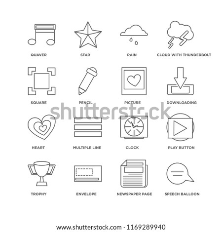 Set Of 16 simple line icons such as Speech balloon, Newspaper page, Envelope, Trophy, Play button, Quaver, Square, Heart, Picture, editable stroke icon pack, pixel perfect