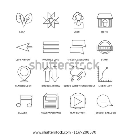 Set Of 16 simple line icons such as Speech balloon, Play button, Newspaper page, Quaver, Line Chart, Leaf, Left Arrow, Placeholder, Balloons, editable stroke icon pack, pixel perfect