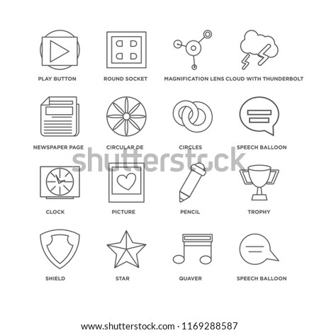 Set Of 16 simple line icons such as Speech balloon, Quaver, Star, Shield, Trophy, Play button, Newspaper page, Clock, Circles, editable stroke icon pack, pixel perfect