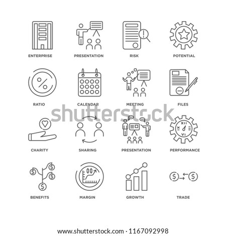Set Of 16 simple line icons such as Trade, Growth, Margin, Benefits, Performance, Enterprise, Ratio, Charity, Meeting, editable stroke icon pack, pixel perfect #1167092998
