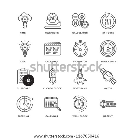 Set Of 16 simple line icons such as Urgent, Wall clock, Calendar, Sleeping, Watch, Time, Idea, Clipboard, Stopwatch, editable stroke icon pack, pixel perfect #1167050416
