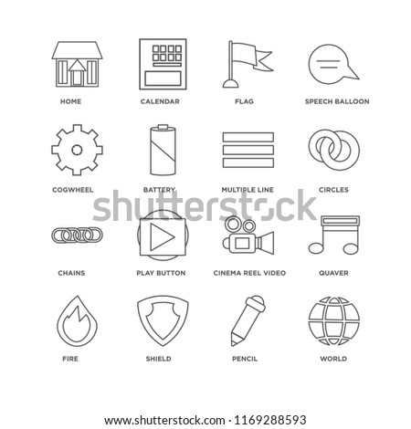 Set Of 16 simple line icons such as World, Pencil, Shield, Fire, Quaver, Home, Cogwheel, Chains, Multiple line, editable stroke icon pack, pixel perfect